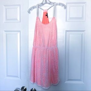 Neon orange and white bathing suit coverup dress
